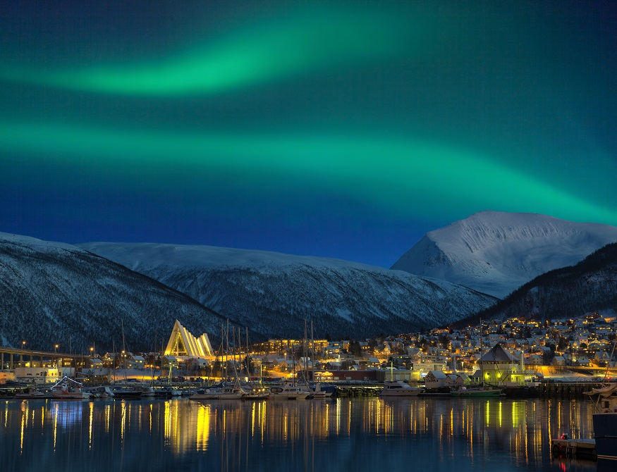 best places to see the northern lights, northern lights over tromsø city