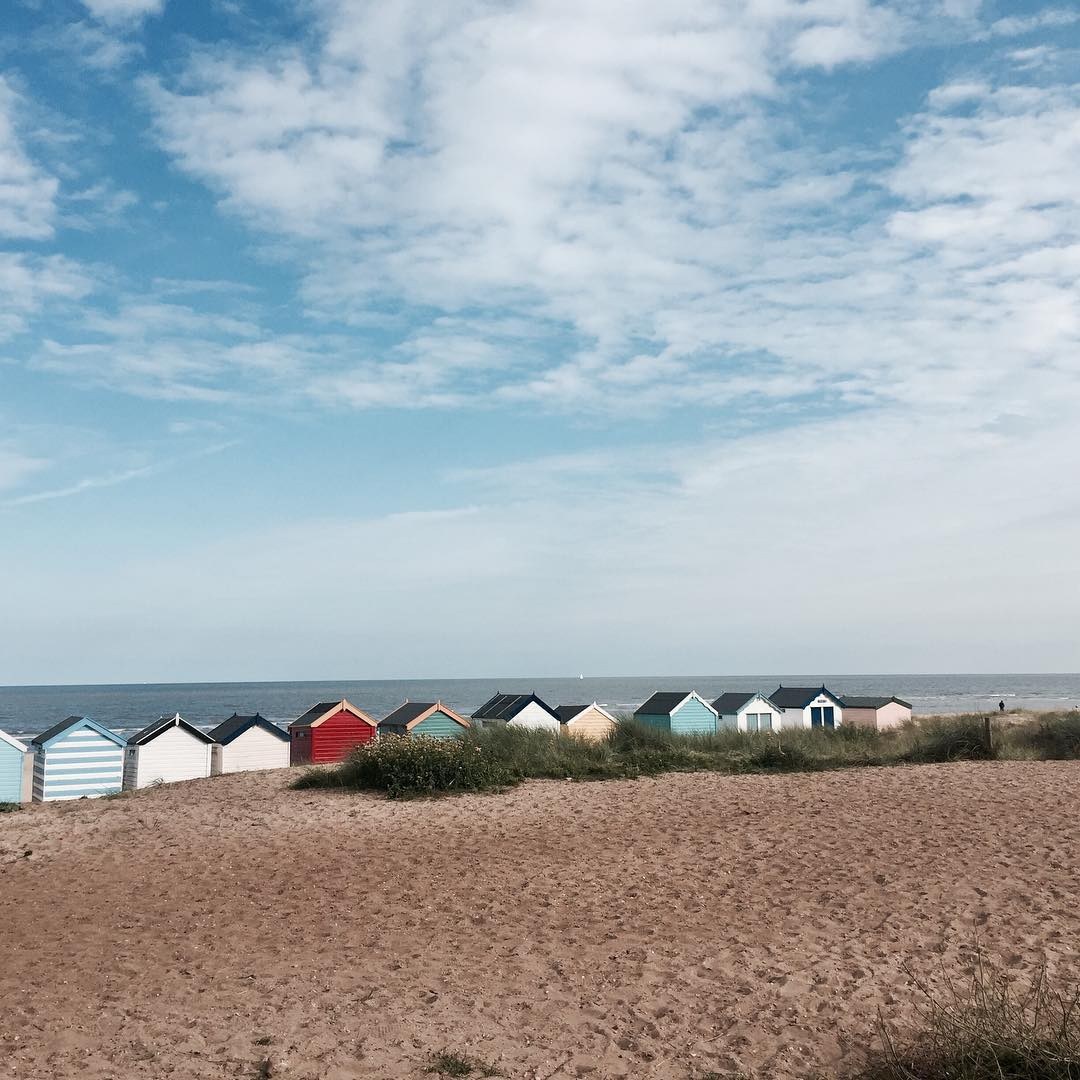 Colourful beach huts in Southwold, Suffolk