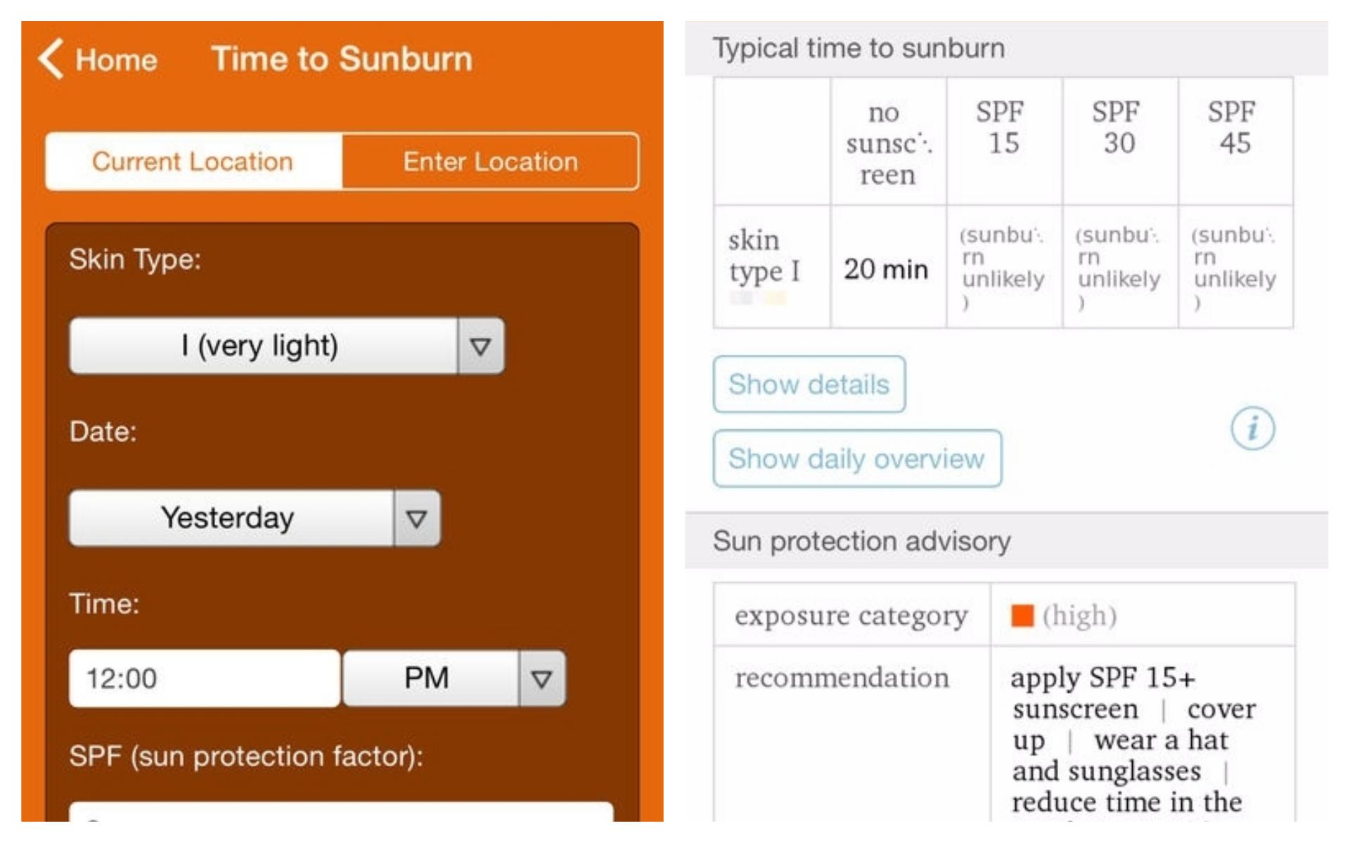 Best Travel Apps - Wolfram Alpha Sun Exposure