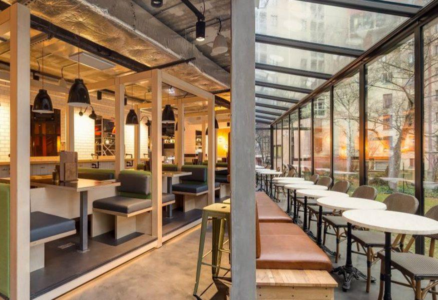 Best hostels in Paris - View of the veranda at Generator Paris