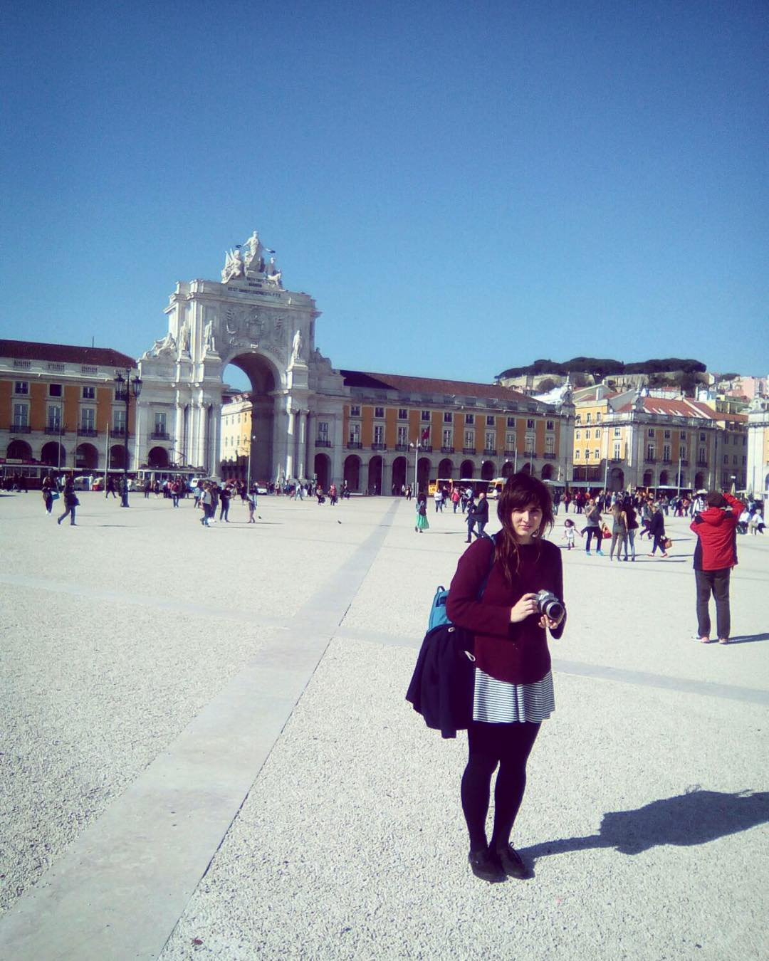Backpacking Portugal - a square in Lisbon