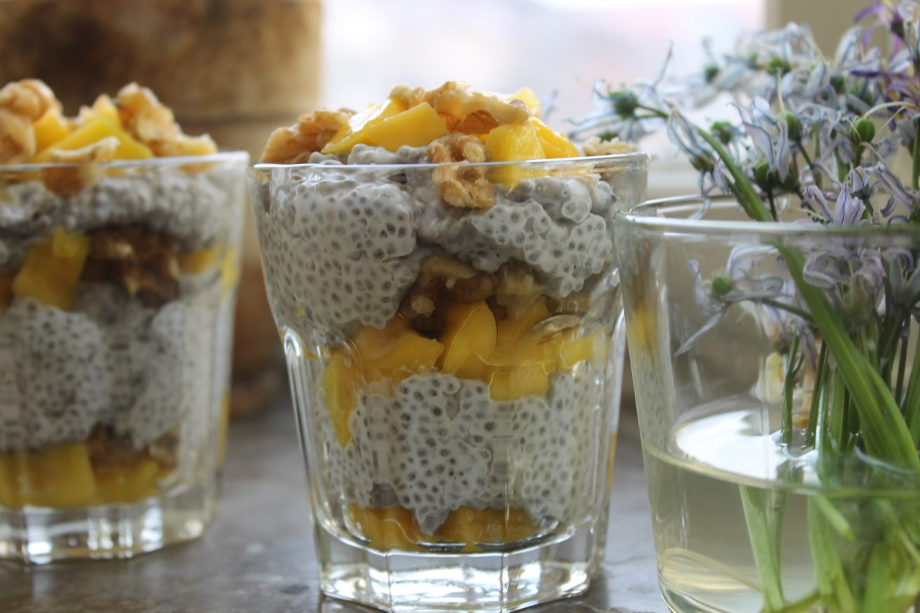 meals to cook in a hostel - fruity chia seed pudding