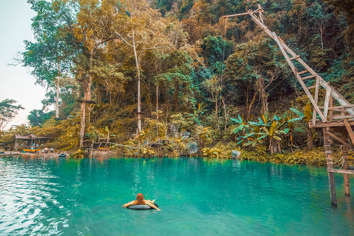 backpacking southeast asia - laos clear water woman