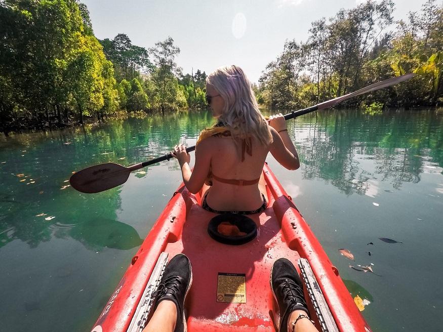 backpacking Malaysia - Mangrove Tours - girl kayaking