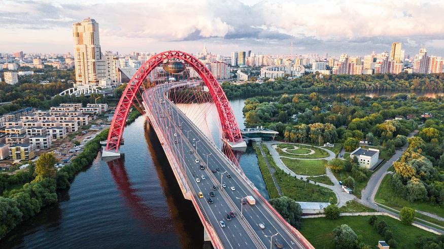 backpacking russia, view of zhivopisny bridge