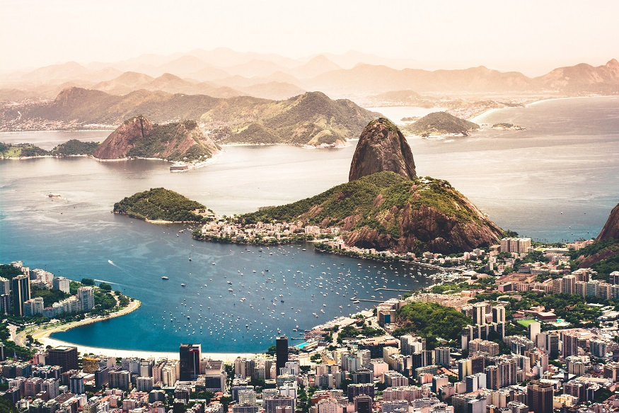 backpacking brazil, view of rio de janeiro with the city and sea