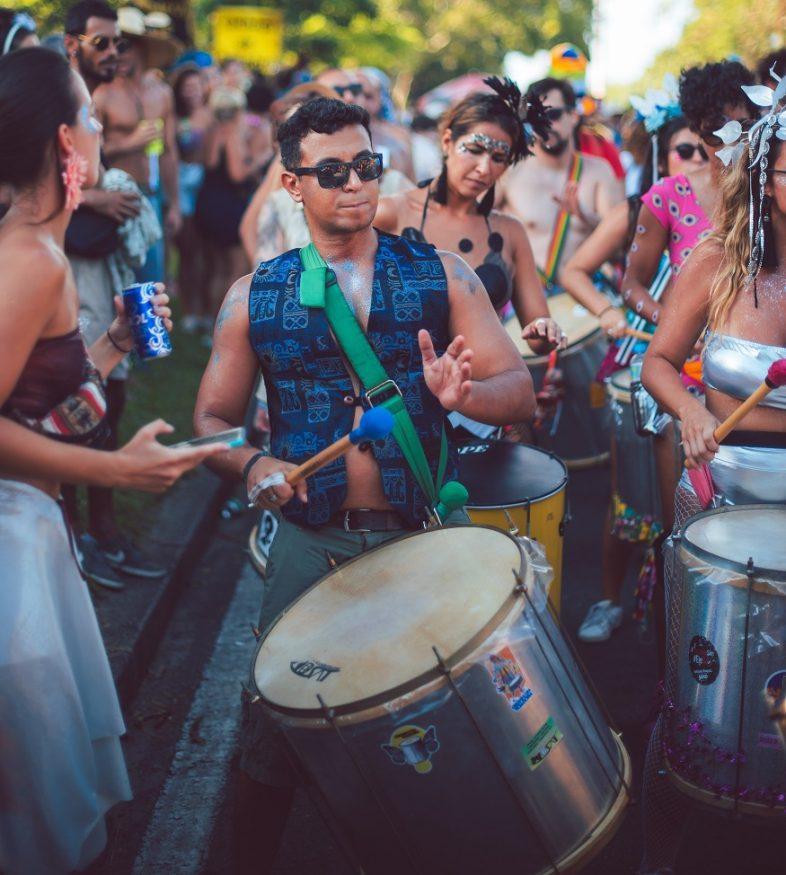 backpacking brazil, man drumming at rio carnival