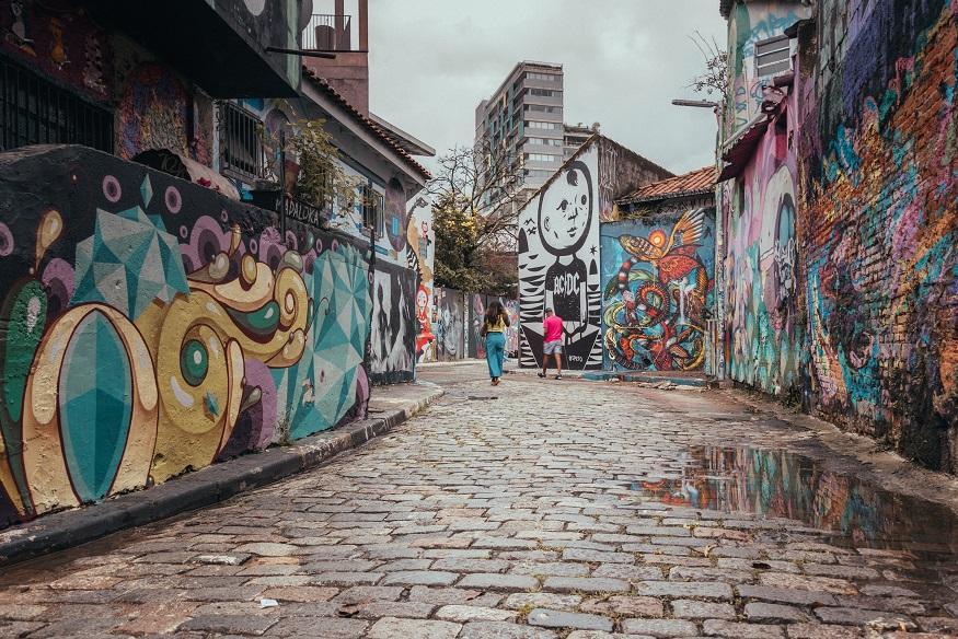 backpacking brazil, walls covered in street art in São Paulo