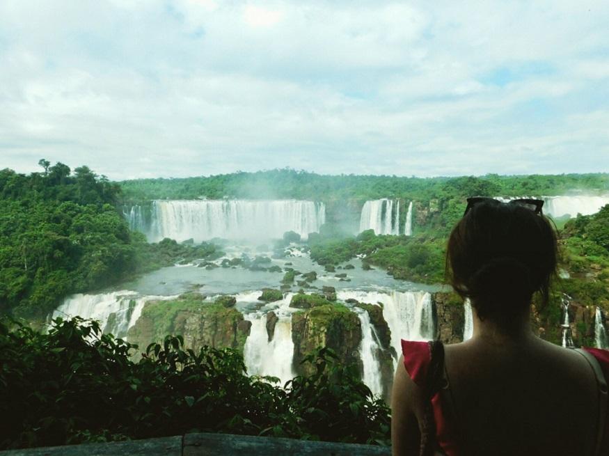 backpacking brazil, girl standing by Foz do Iguaçu