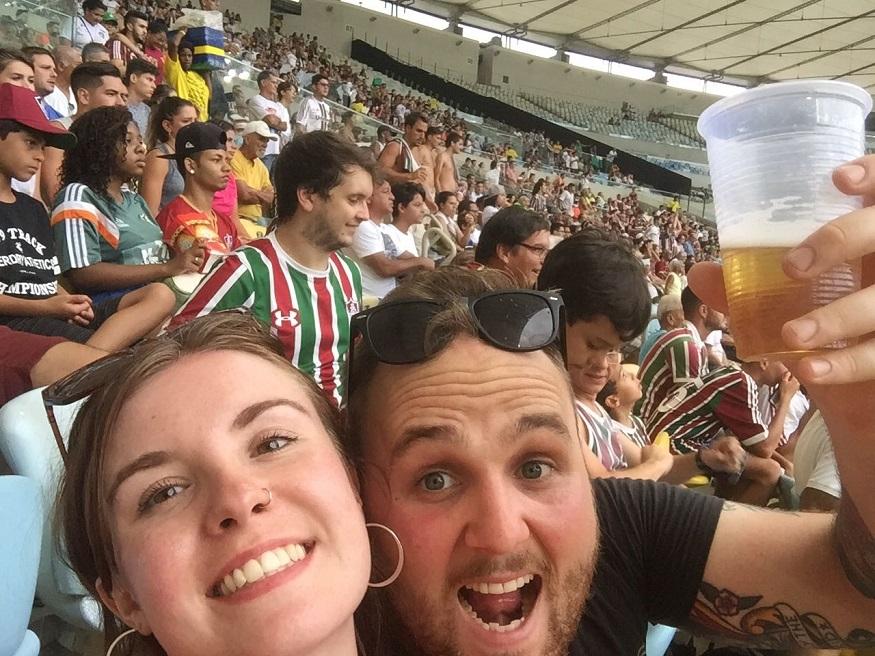 backpacking brazil, two people at maracanã football stadium