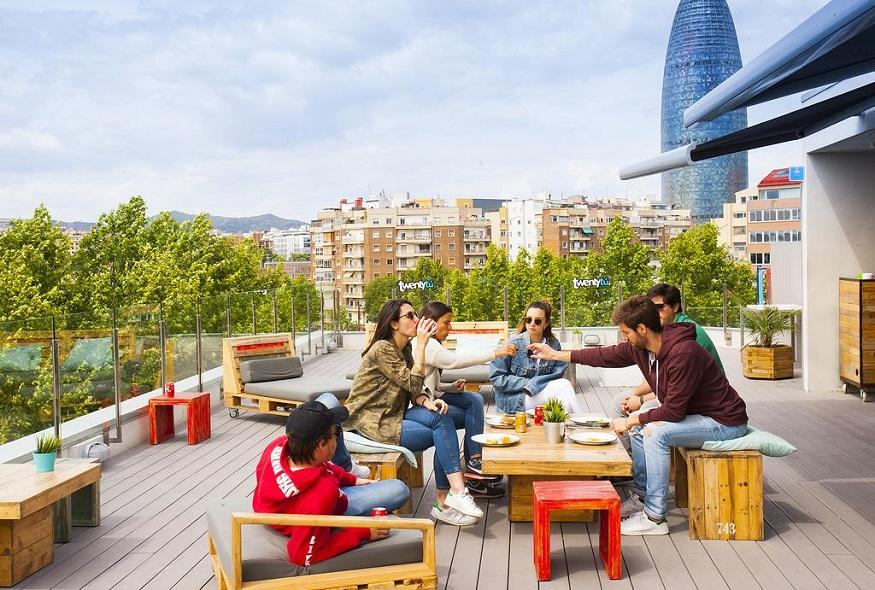 eco-friendly hostels, roof terrace of Twentytu Hi-Tech Hostel