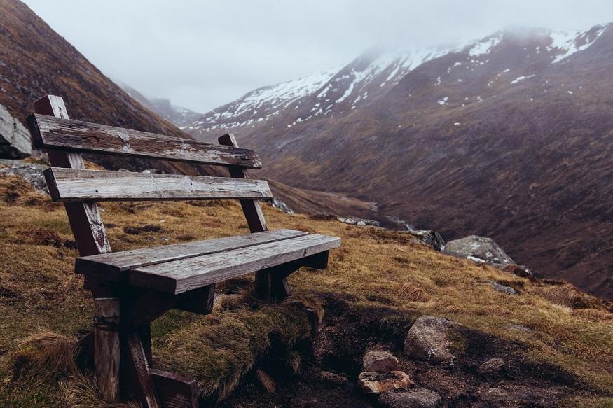 scotland road trip, a bench on ben nevis