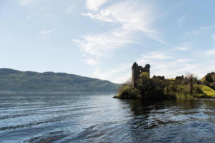scotland road trip, loch ness with castle ruins