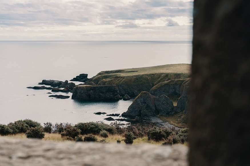 scotland road trip, view of the sea from dunnottar castle