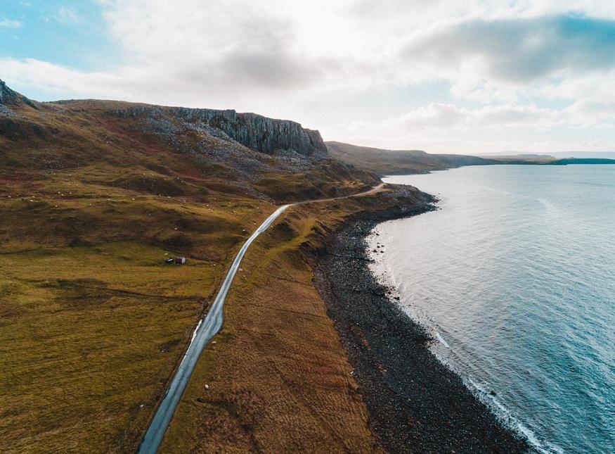 scotland road trip, road along skye coastline