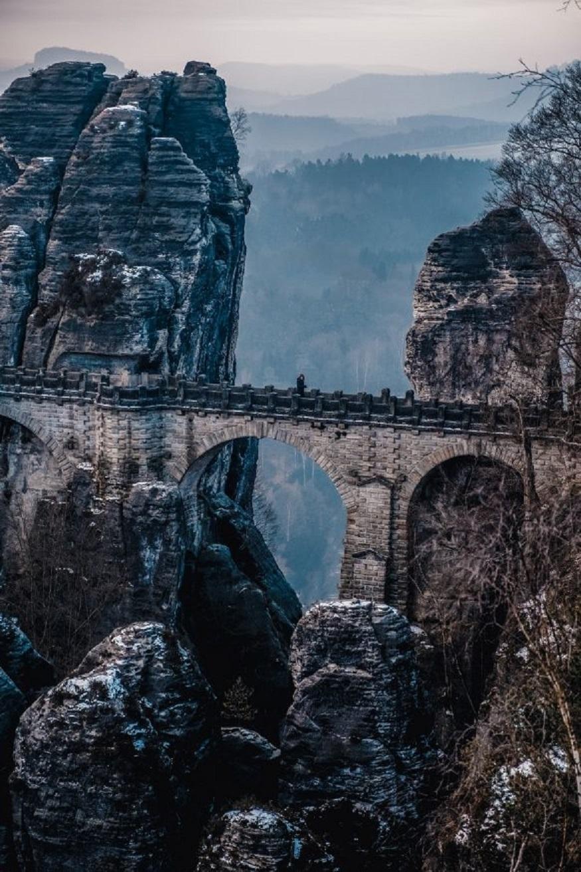best national parks in europe , a bridge in saxon switzerland national park