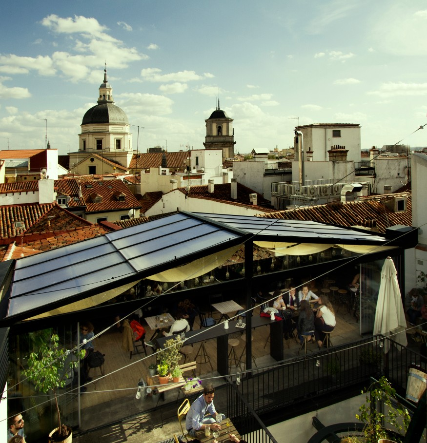 best independent hostels, roof terrace at the Hat hostel, Madrid, Spain