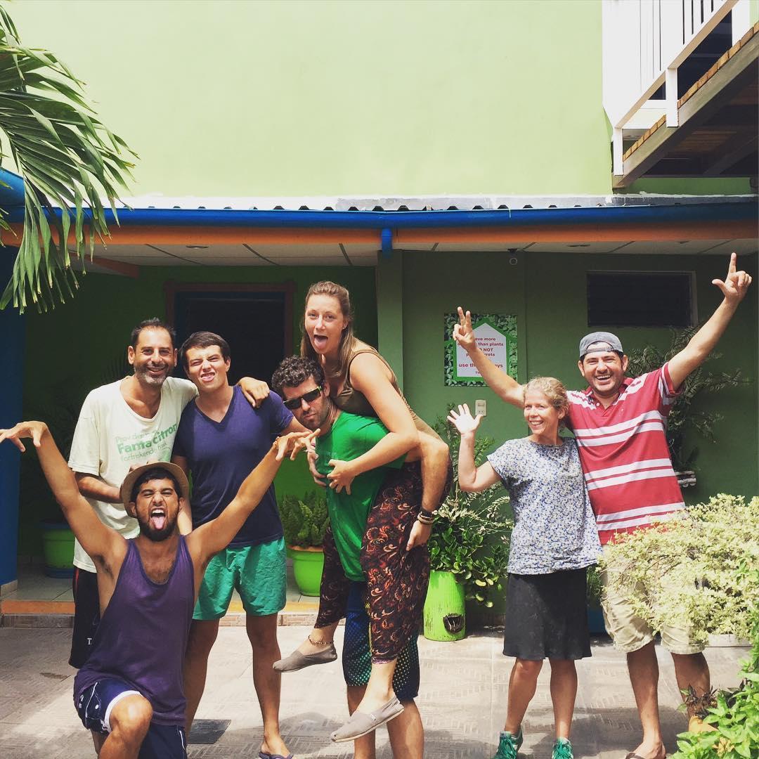 best independent hostels, backpackers posing for a group picture at Casa Verde Santa Ana hostel, Santa Ana, El Salvador