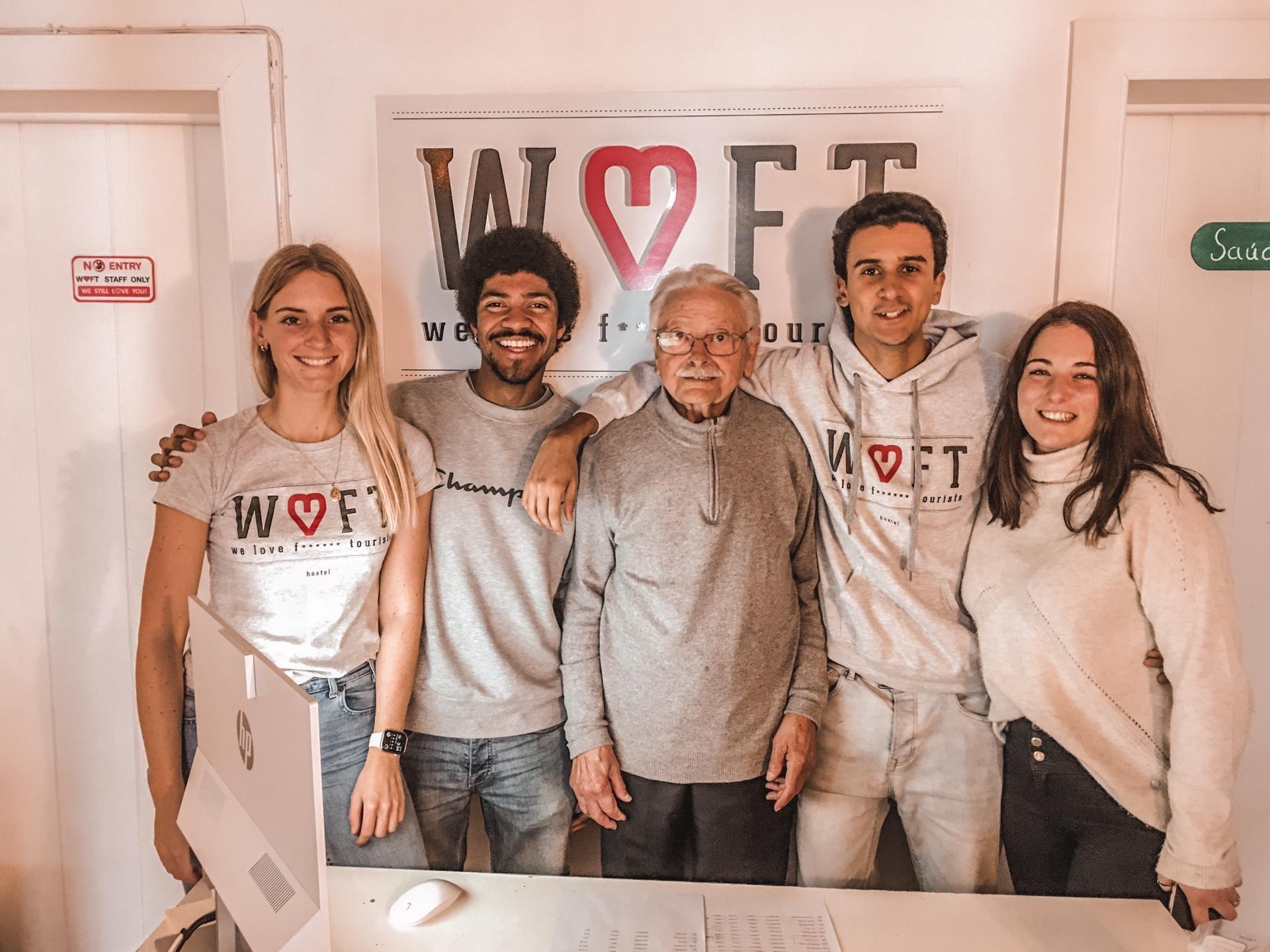 best independent hostels, We Love F. Tourists hostel staff standing in reception