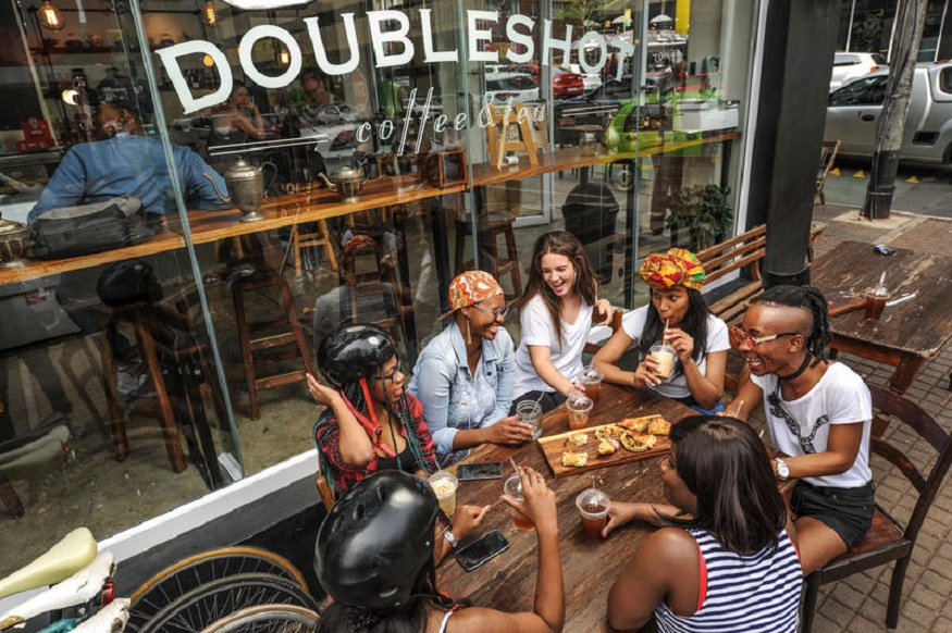 female hostel owners, people drinking at once hostel in joburg