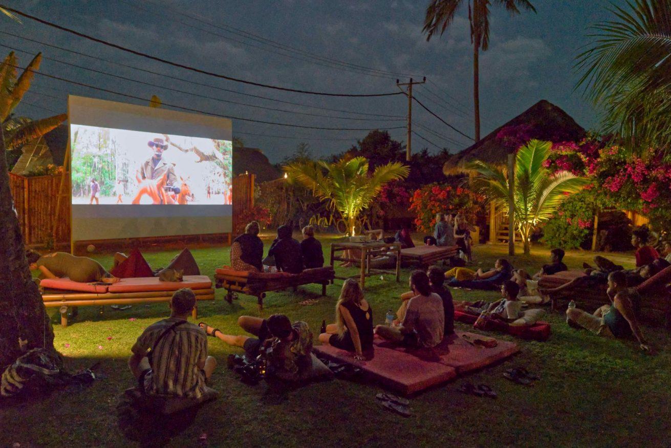 outdoor cinema at Begadang Gili Air hostel , nominated for extraordinary sociable experience hostels award